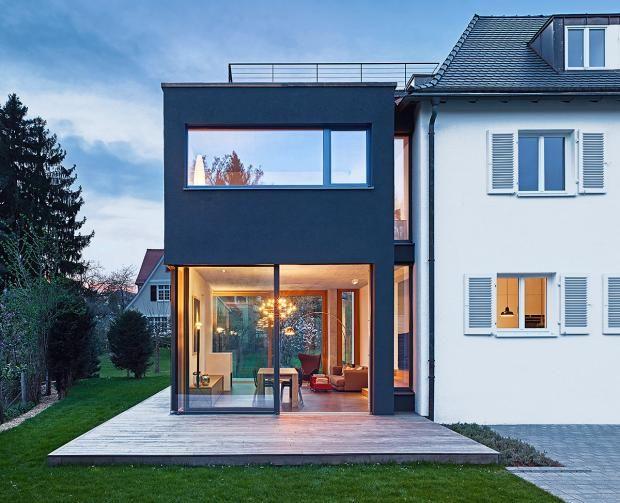 ansicht von westen mit terrasse - anbau an einfamilienhaus aus den