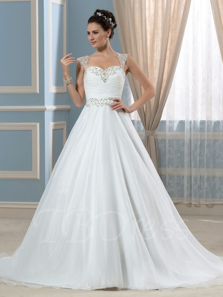 Tbdress.com offers high quality Sheer Beading Back A-Line Straps Court Wedding Dress Latest Wedding Dresses unit price of $ 181.99.