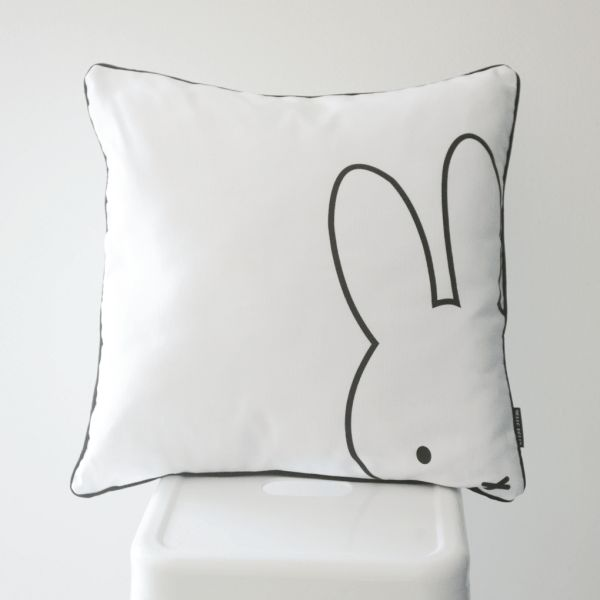 Peekaboo Miffy Scatter Cushion Cover   Cushion cover size: 45 cm x 45 cm.  (Inner not included.)   Printed onto a pure white, medium weight 100% cotton upholstery fabric.   Only printed on the front.   Back of the cushion is the same fabric as front.   Black piping trim around the edge of the cushion.