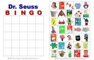Dr. Seuss Bingo Cards for March 2