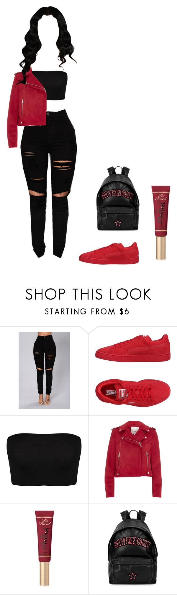 """"""""""" by bodakjello ❤ liked on Polyvore featuring Puma, River Island, Too Faced Cosmetics and Givenchy"""