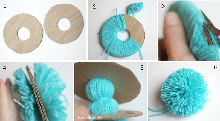 Repeat Crafter Me: Thing 1 and Thing 2 Crochet Hats -  How to make a pom pom