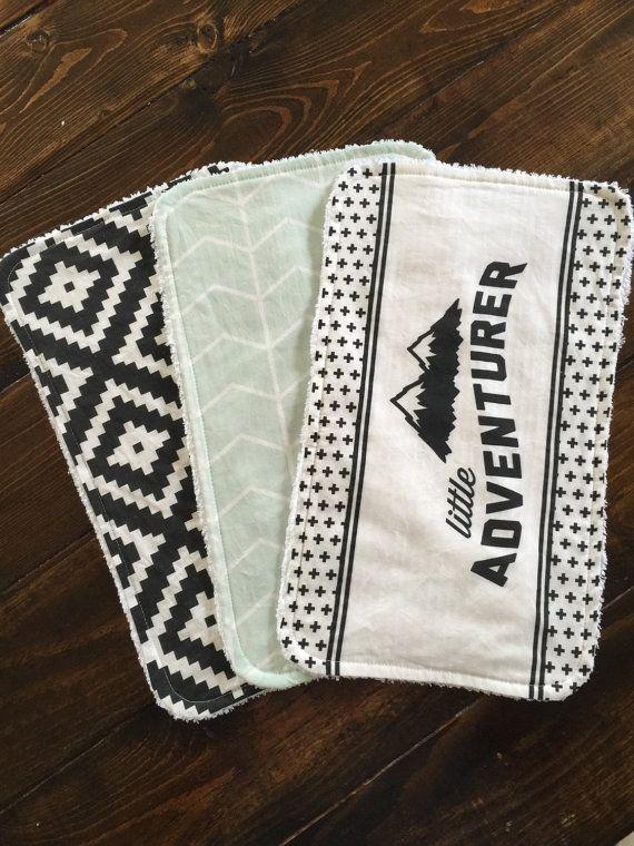 Little Adventurer Burp cloth set, mint chevron, black aztec, baby gift, shower gift