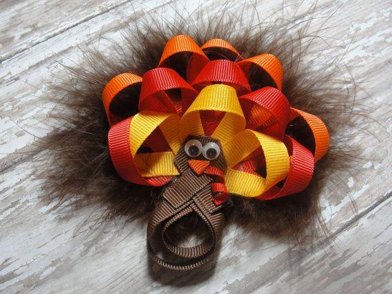 Turkey Hair Bow  Thanksgiving Hair Bow / by AdorableCreationsbyC, $8.00