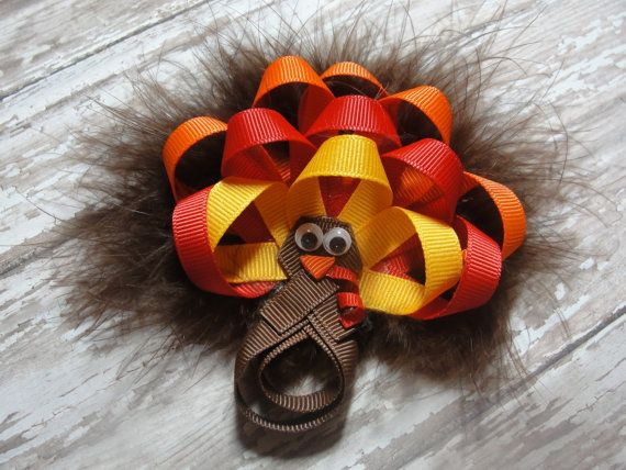 Turkey Hair Bow  Thanksgiving Hair Bow / by AdorableCreationsbyC, $8.00