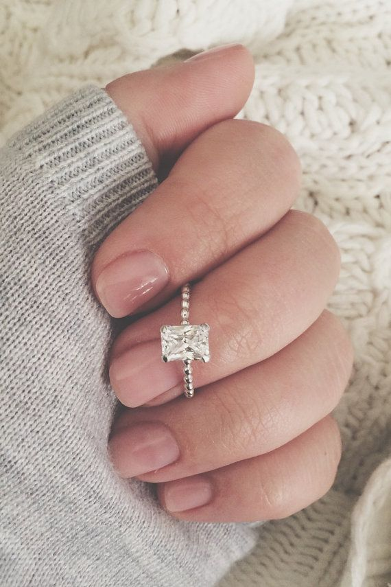 Emerald Cut CZ on a Thin Beaded Stacking Ring by CallieJewelry