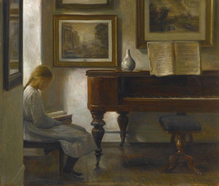 Девочка в интерьере_47 х 55_х.,м._Частное собрание Карл Вильхельм Холсё (Carl Vilhelm Holsøe), 1863-1935. Дания