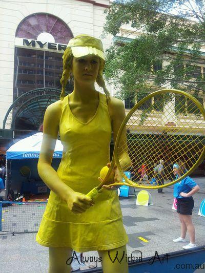Living Statue for Queensland Tennis in Queen Street Mall, Brisbane