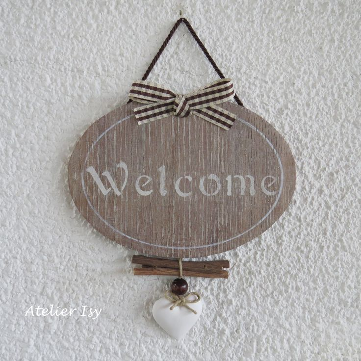 Plaque de porte en bois Welcome
