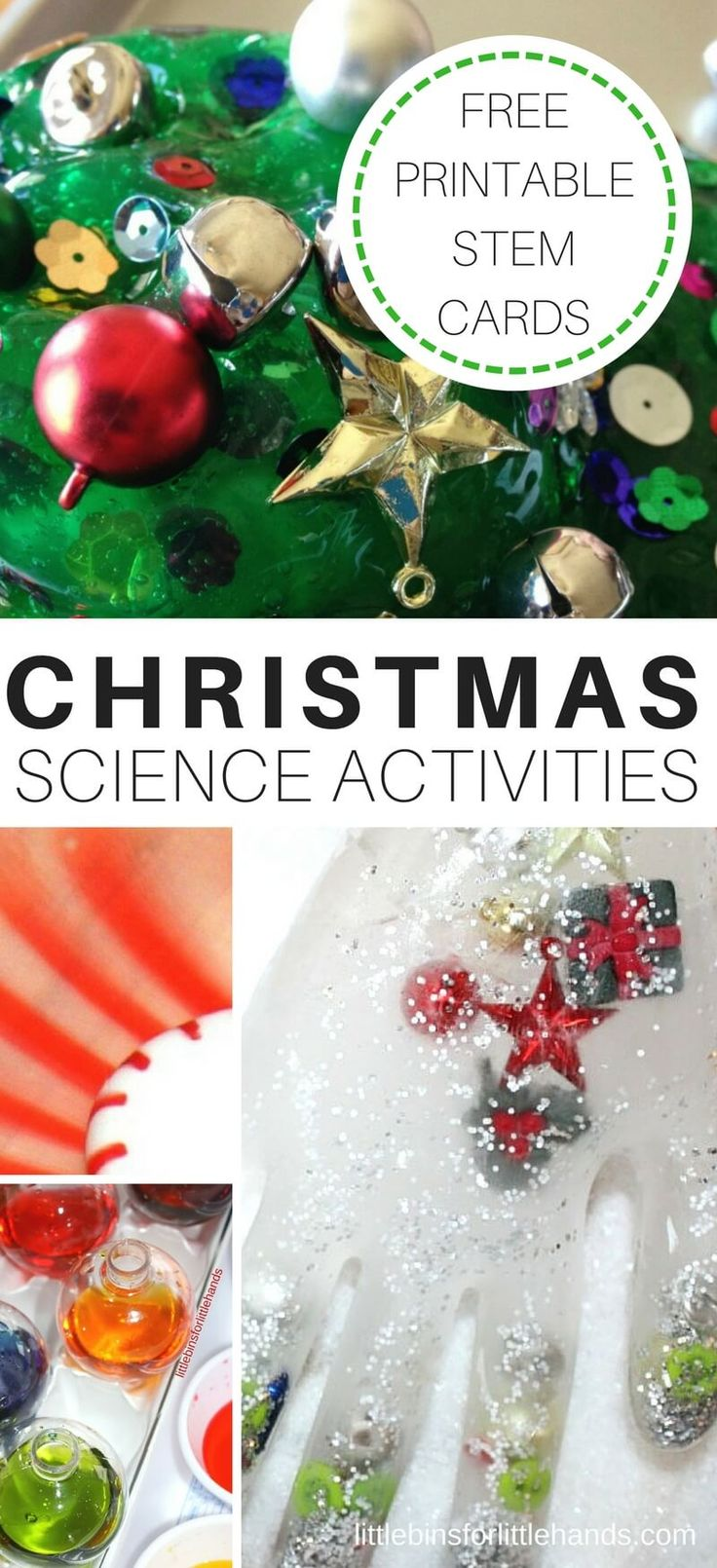 Christmas science activities, Christmas STEM challenges, and Christmas slime recipes for kids. Our Christmas science experiments include gingerbread man activities, Christmas tree activities, Candy cane activities, and more! Christmas chemistry and Christmas physics are easy and fun to try with our simple to set up Christmas science activities. Also included is free printable STEM challenge cards for a Christmas science countdown idea!
