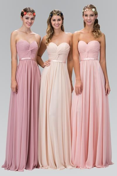 Floor length Twisted Knot front chiffon floor length Bridesmaid Dress 3 Pastel colors