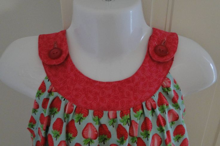Girls sun dress with pocket and frill trim in pink strawberry print. by VSLFashions on Etsy