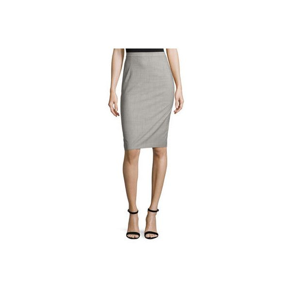 Theory Hemdall B Continuous Pencil Skirt ($275) ❤ liked on Polyvore featuring skirts, jet melange, women's apparel skirts, white knee length skirt, white pencil skirt, white high waisted skirt, pencil skirt and white knee length pencil skirt