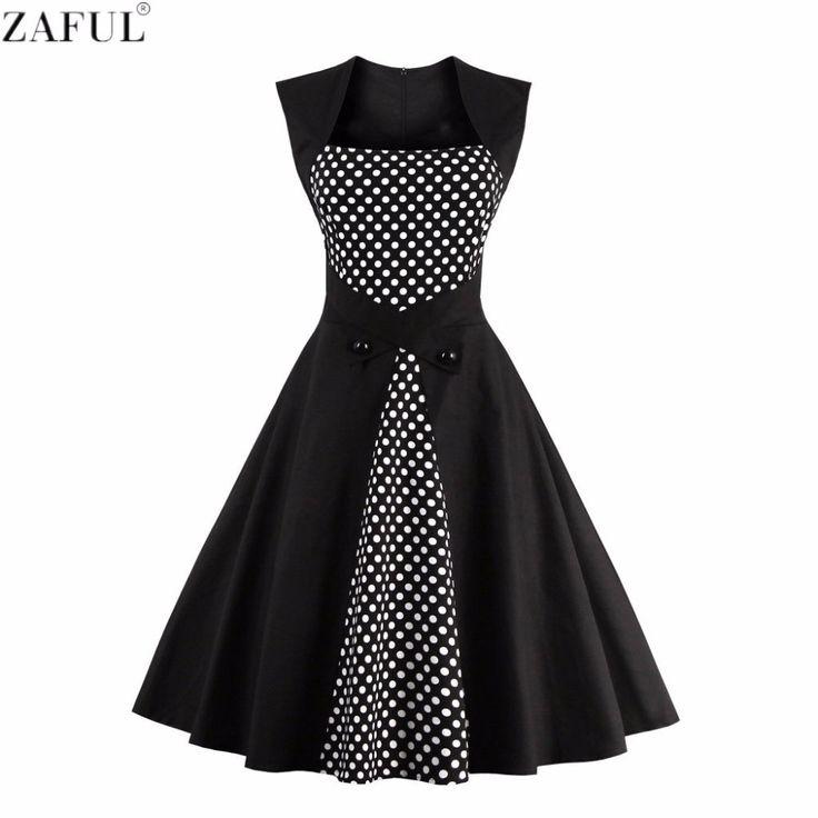 ZAFUL Plus Size 4XL Woman Dresses Retro Vintage Rockabilly Dot Hepburn Pinup Tunic Ball Grown Jurken 60s 50s Party Robe