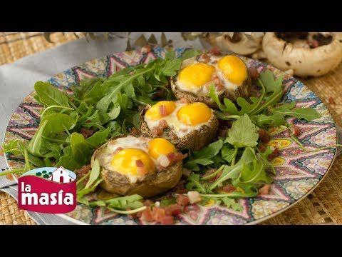 Recetas Cocina mediterranea | Receta Champiñones Rellenos con Huevo de Codorniz y Jamón Ibérico