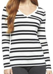 Target Ultimate long sleeve v-neck tee in black and white stripe. Bought on sale for $6.50 - no longer own