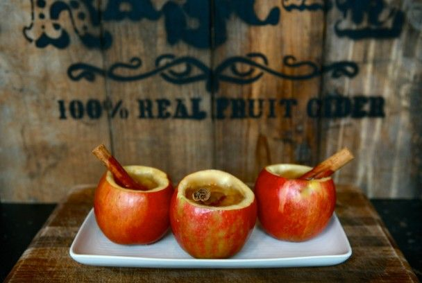 Winter cocktails in apple cups