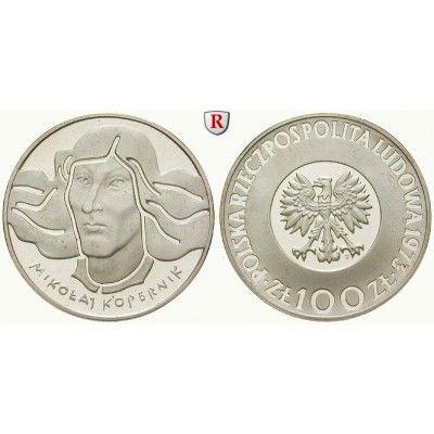 Polen, Volksrepublik, 100 Zlotych 1973, PP: Volksrepublik 1952-1989. 100 Zlotych 1973. Nikolaus Kopernikus. Parch. 269; Polierte… #coins