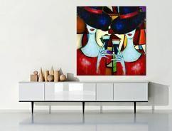 Modern schilderij 'My Best Friend' van Irina, formaat 80 x 80 cm met acrylverf op canvasdoek geschilderd. Eigenzinnig kunstwerk van 2 dames tijdens het cocktailuur voor in je moderne interieur, Lees meer informatie over dit schilderij in onze webwinkel www.kunstvoorjou.nl via de bron hierboven.