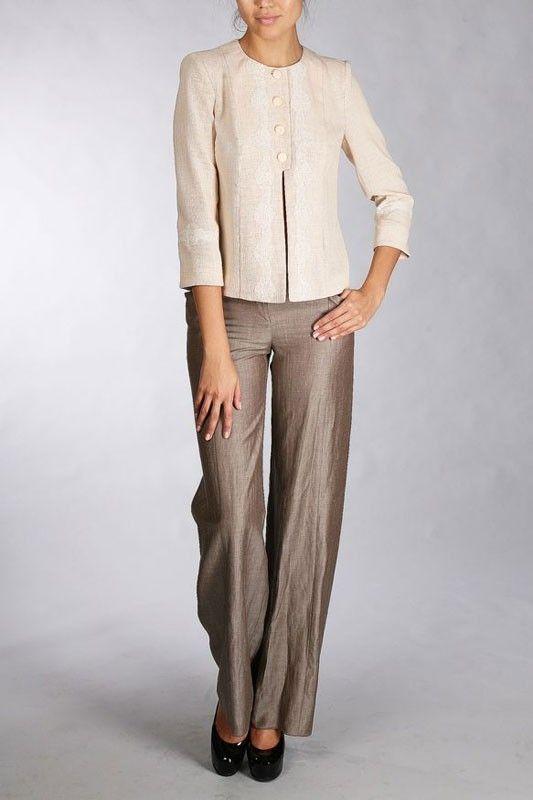 Коричневые брюки с металлическим фирменным знаком 04.1095 G0507.06