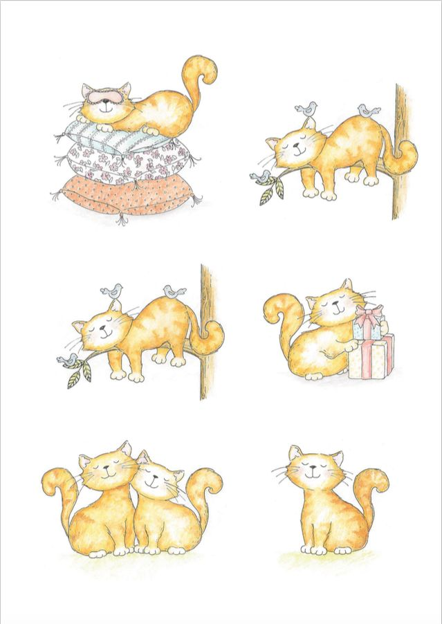 Free cuddly cat illustrations for all your card designs and scrapbooking!
