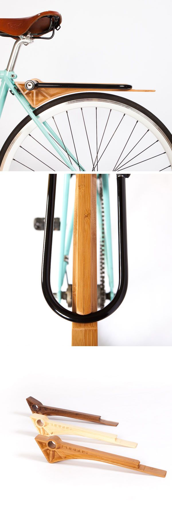 Nicely designed Ruphus Slim wood fender, rack + lock holder all in one.
