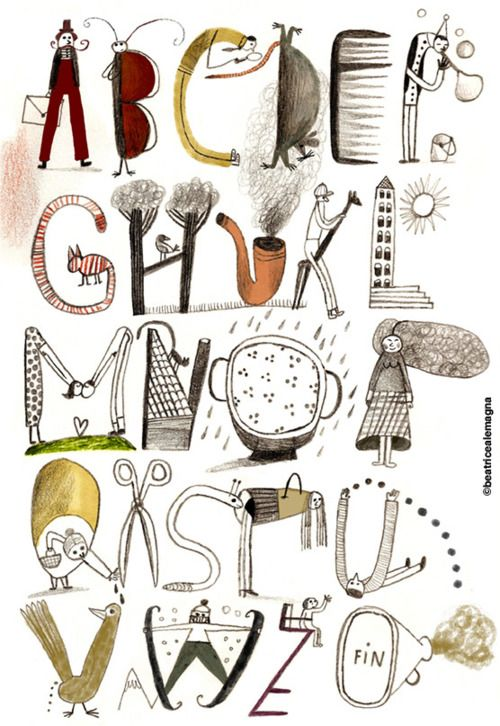 illustrated alphabet without I by Beatrice Alemagna #illustration #drawing #typography