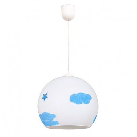 Lámpara de techo colgante infantil bola de cristal con motivos nubes