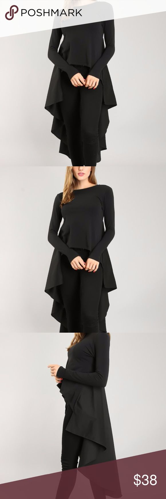 Black Hi Lo Ruffle Swing Tunic Top Fashion Blouse Black Hi Lo ruffle swing tunic top. Long sleeves. Boat neckline. Polyester / Spandex. Made in USA. Brand new factory direct.  Size	XS 0/2	S 2/4	M 6/8 L 10/12 XL 12/14 Bust	31-32	33-34	35-36	37-38	39-40 Waist	23-24	25-26	27-28	29-30	31-32 Hips	33-34	35-36	37-38	39-40	41-42 Tops Tunics