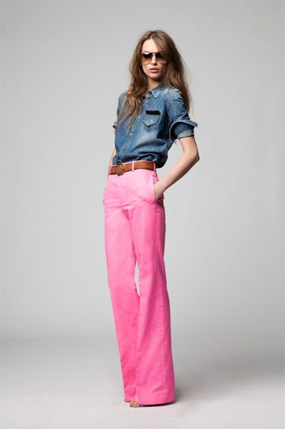 : Fashion, Style, Pink Pants, Outfit, Denim Shirts, Wide Legs