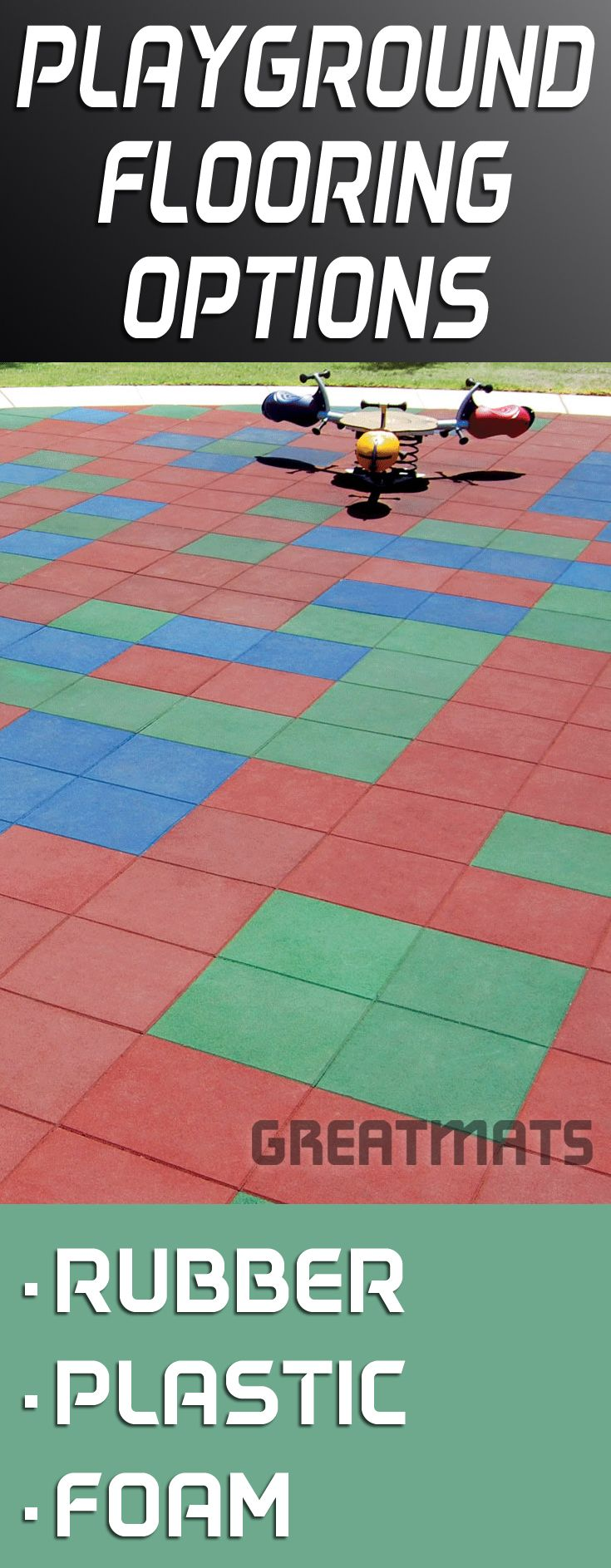 Greatmats offers one of the largest selections of playground flooring tiles available in rubber, plastic or foam materials.