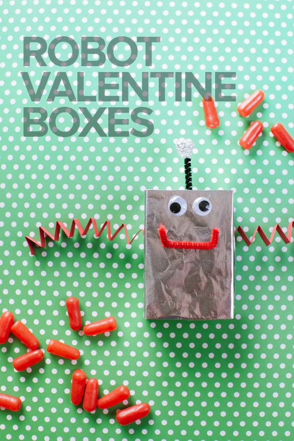 Make these cute Robot Valentine Boxes with your kids, so they have