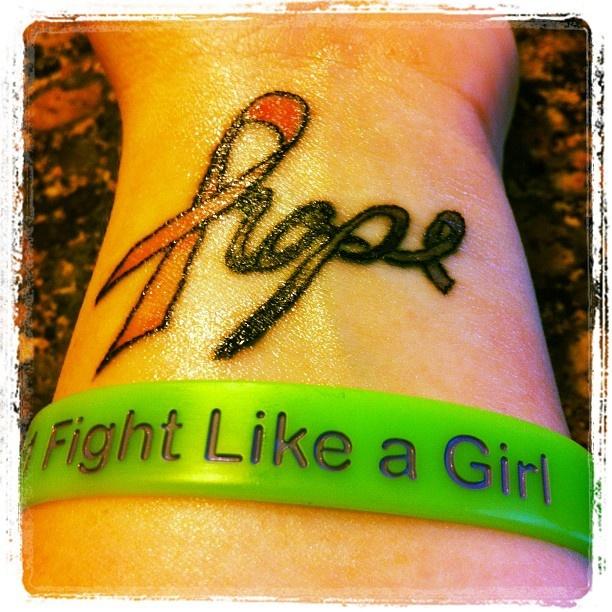 My tattoo <3 Breast cancer ribbon and hodgekins lymphoma ribbon