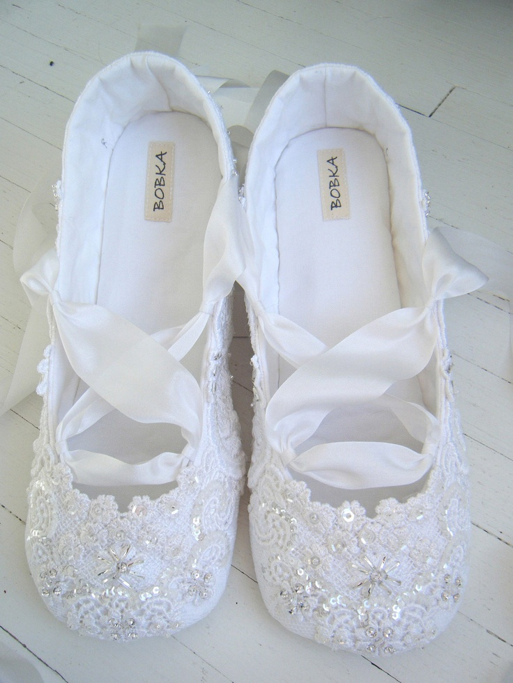 Bridal Shoes Flats Wedding Ballet Shoes White Crystal ...