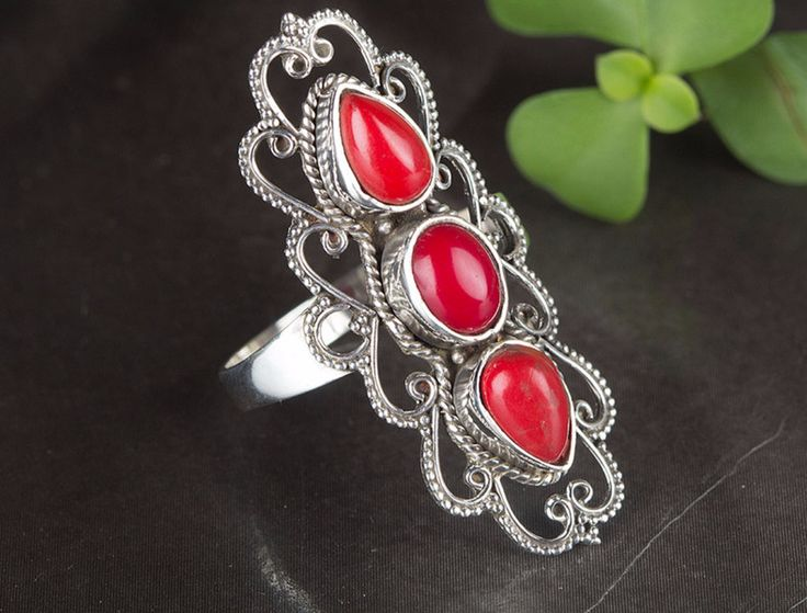 Silver Rings – Coral Ring, 925 Silver Ring, Red Stone Ring – a unique product by Midas-Jewelry on DaWanda