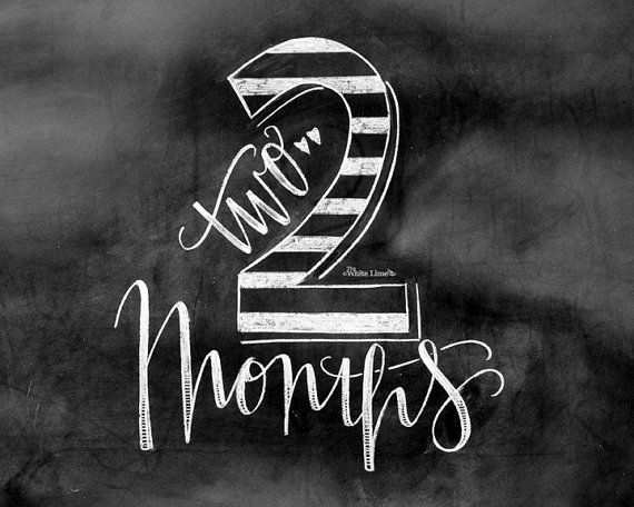Baby Monthly Chalkboard Baby Milestone Two Months por TheWhiteLime