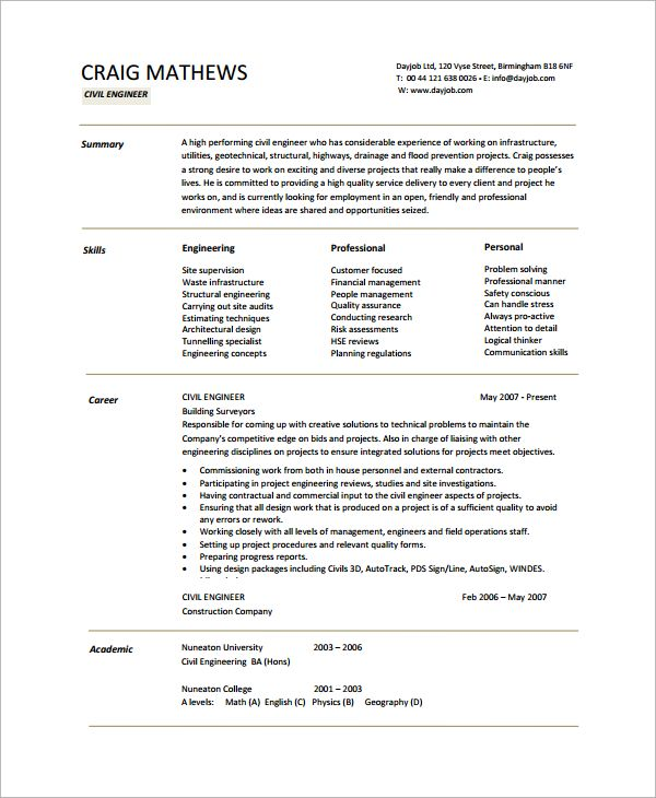 Cv Template Civil Engineer Manager Resume Resume Template