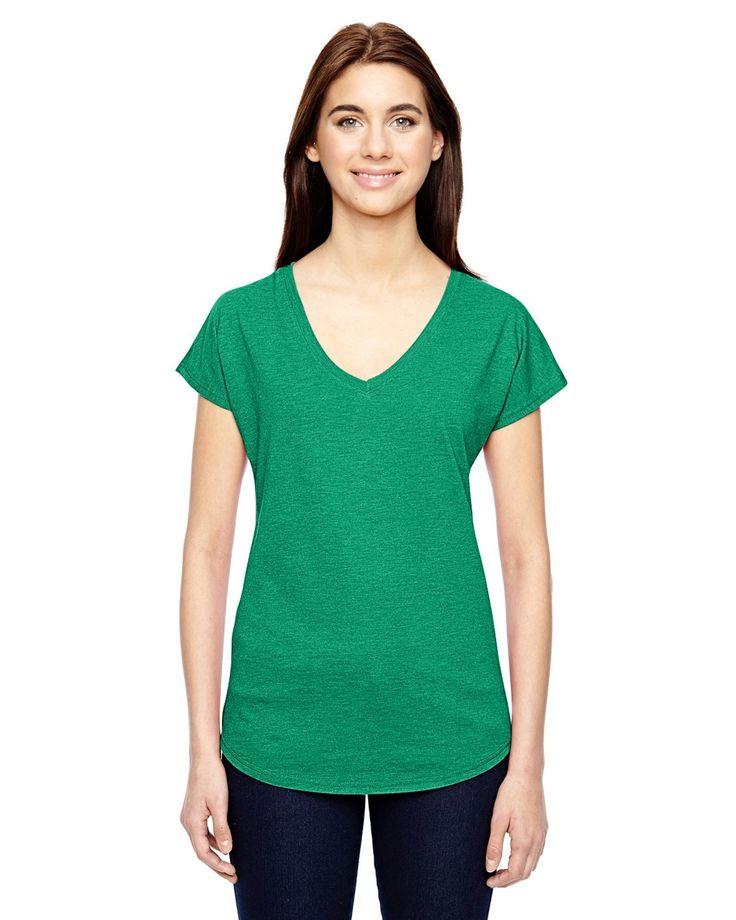 Anvil Ladies' Triblend V-Neck T-Shirt 6750VL HEATHER GREEN
