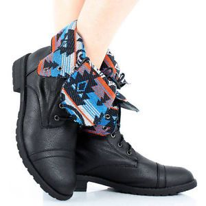Fold Over Combat Boots Women | ... Combat-Lace-Up-Army-Tribal-Print-Fold-Over-Cuff-Women-Flat-Ankle-Boots