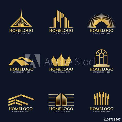 Golden home logo vector set design