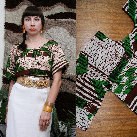 Vintage Batik Cotton Top Small-Large. $34,00, via Etsy.