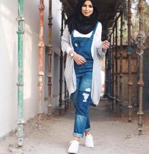 denim jumpsuit hijab style- Beautiful hijab outfits…
