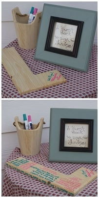 Birthday party guest book | Paint pens on wooden letter for the birthday girl