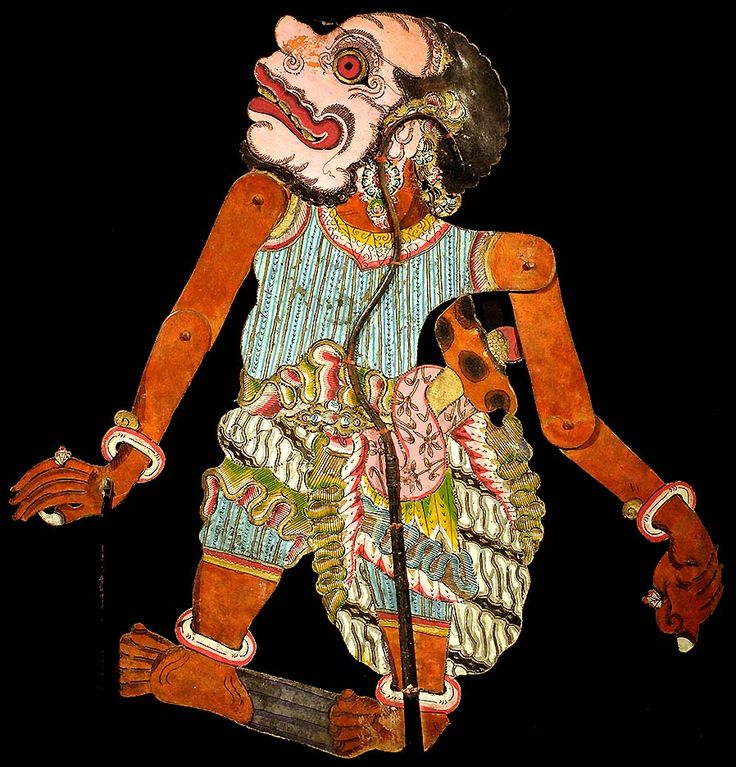 BALINESE: ANTIQUE HAND PAINTED HAND CUT LEATHER SHADOW PUPPET