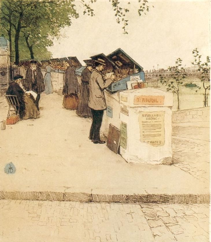 "Tavik František Šimon ""Booksellers along the Seine"""