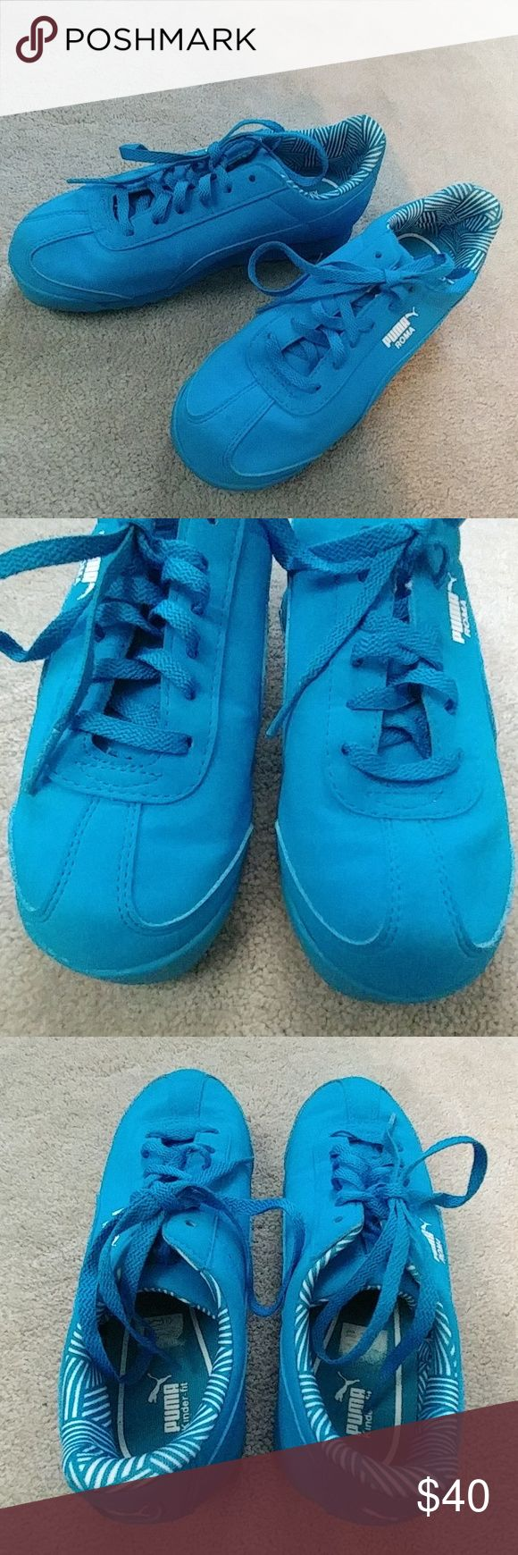 Like new! Blue Puma Sneakers Awesome sneakers for soccer or everyday! All blue, excellent like new condition from a smoke and pet free home No damage flaws or defects My son wore these on the first day of school (2nd grade), to school only and that was it! What a waste... no box Puma Shoes Sneakers