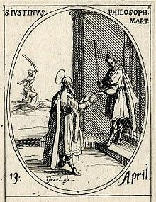 A bearded Justin Martyr presenting an open book to a Roman emperor. Engraving by Jacques Callot.