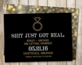 Funny Save the Date Shit Just Got Real Save the Date Card
