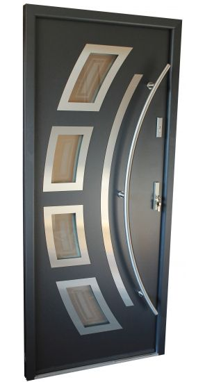 """Miami"" - Stainless Steel Entry Door in Grey Metallic"