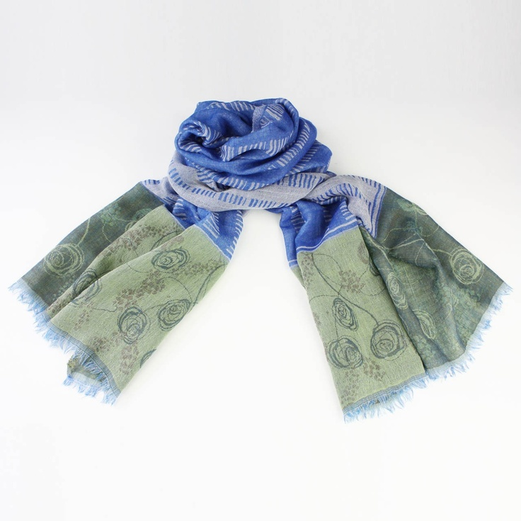 'Sketchy Rose' Scarf in Sky Blue by Juniper Hearth. 100% fine wool. $89.